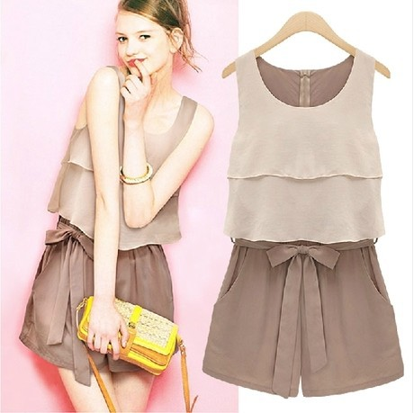 Hot Sale 2014 New Arrival Summer Chiffon Jumpsuit Fashion Chocolate Sleevelss Vest Ruffle Bow Waist One Piece Jumpsuit -in Jumpsuits & Rompers from Apparel & Accessories on Aliexpress.com