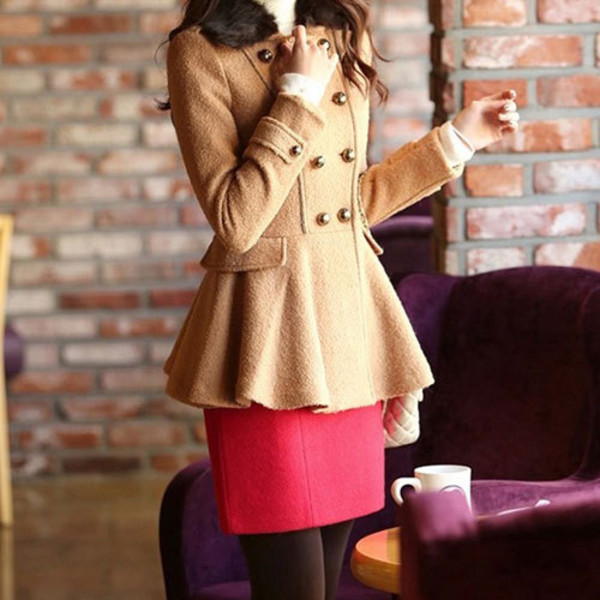 coat double breasted graceful slim