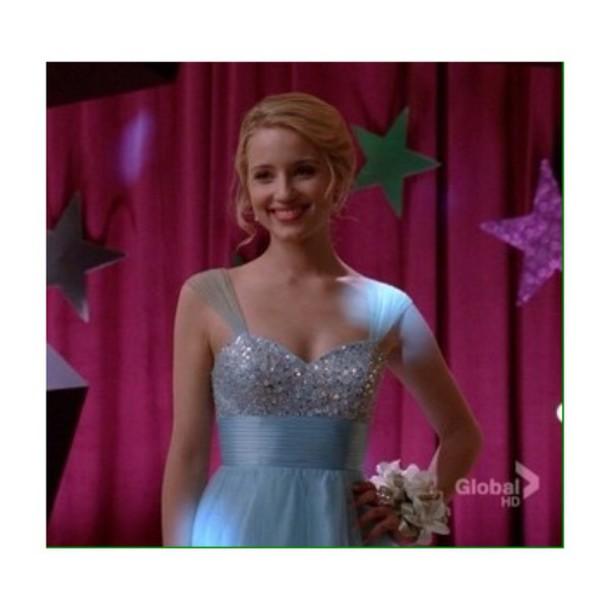 dress blue dress quinn fabray glee