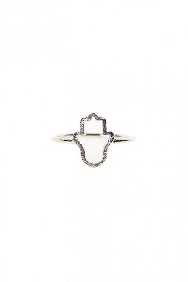 LoveMelrose.com From Harry & Molly | Hamsa Hand Ring - Silver