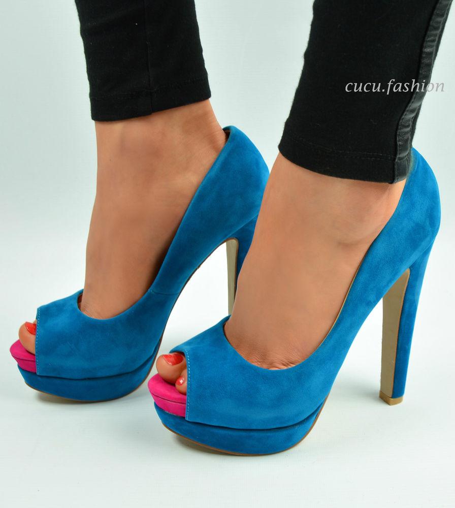 New Womens High Heel Pumps Ladies Open Toe Platform Heel Shoes Black Red Size   eBay