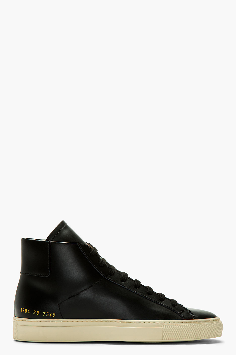 common projects black leather vintage high_top sneakers