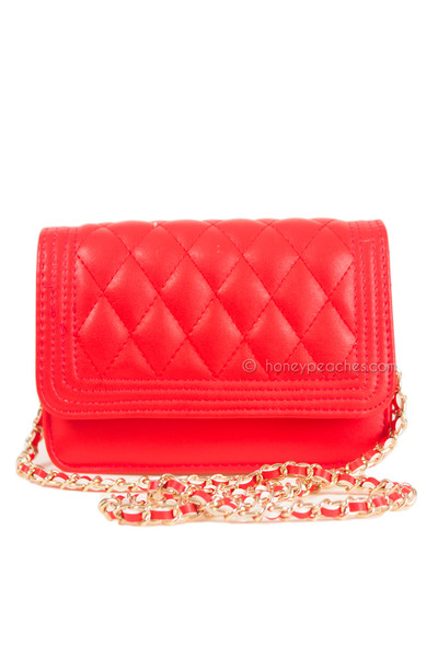 Lost In Manhattan Quilted Bag - Red | Honey Peaches