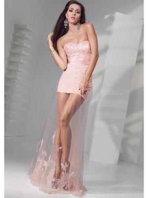 Buy Fashion Sheath Pink Tulle Homecoming Dress under 200-SinoAnt.com