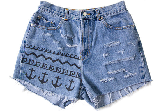 High Waisted Denim Shorts Vintage Ripped by floralfireworks