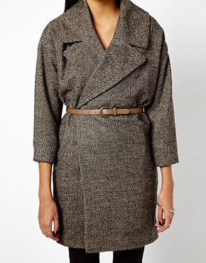 Warehouse | Warehouse Belted Oatmeal Coat at ASOS