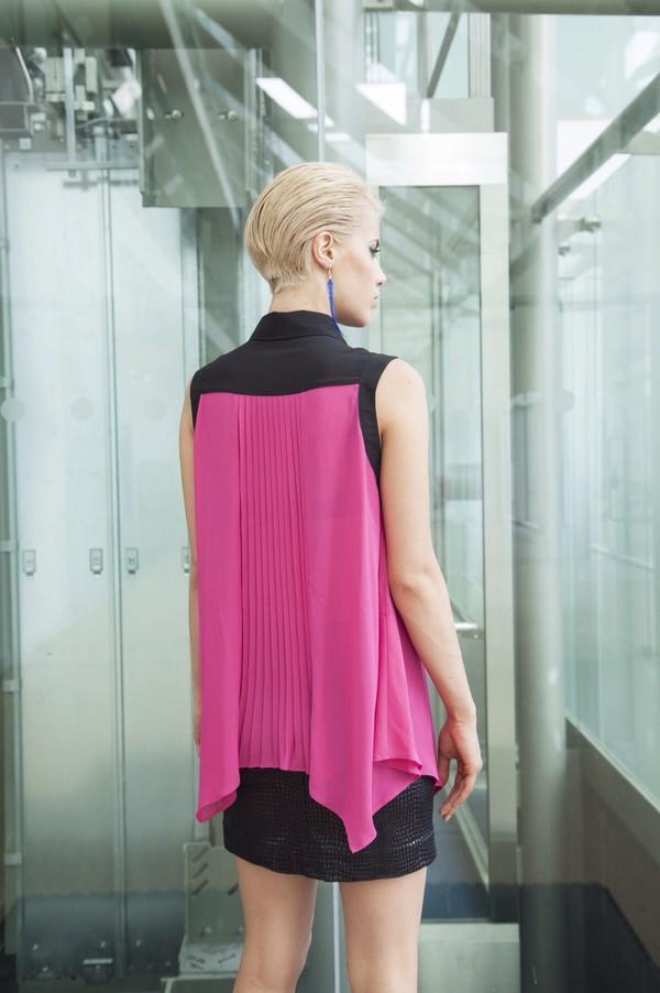 blouse shirt pleats fuchsia black skirt model