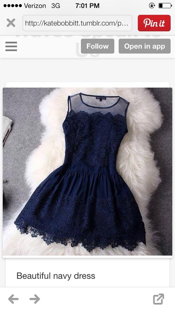 dress navy embroidery short dress
