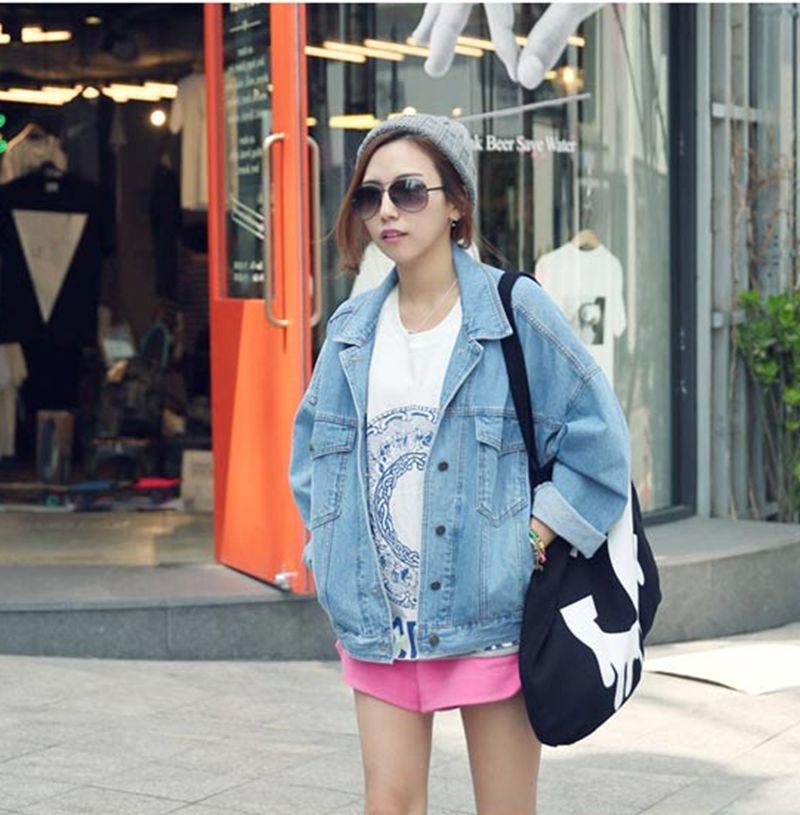 2014 denim outerwear female long sleeve loose bf vintage oversize vintage denim jacket-inBasic Jackets from Apparel & Accessories on Aliexpress.com