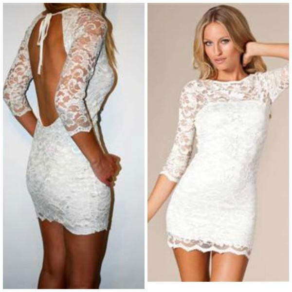 dress bodycon dress lace dress white dress
