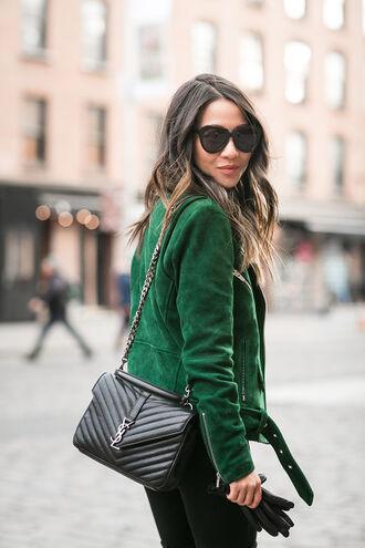 wendy's lookbook blogger sunglasses suede jacket green jacket yves saint laurent