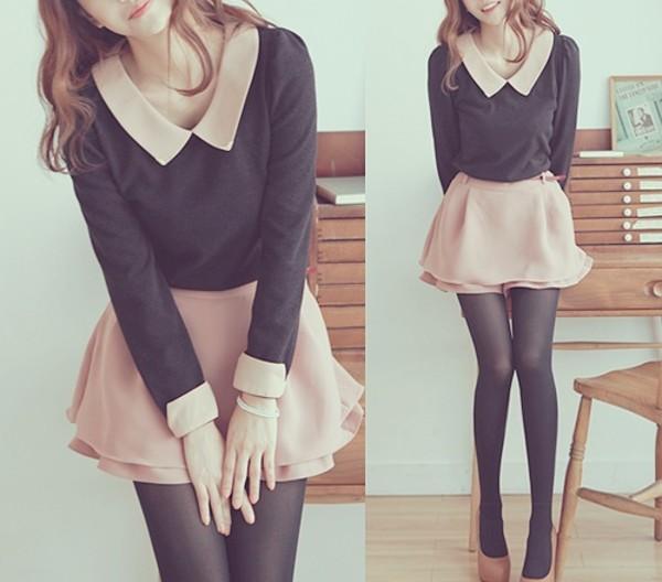 blouse asian cute outfits girly skirt dress collar bag