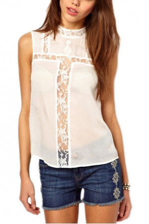 KCLOTH Chiffon Lace Detailed Top Blouse