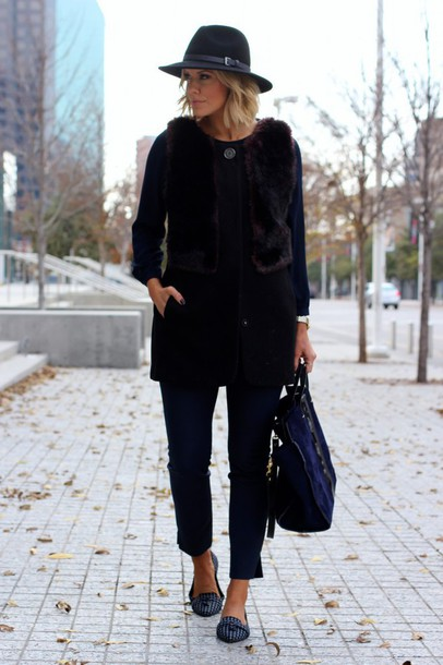 the courtney kerr blogger hat faux fur vest loafers black bag jacket top pants shoes bag jewels
