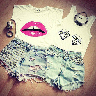 shirt top t-shirt diamonds bracelets shorts rivet tank top lip print clothes swag hipster jeans lips jewels pants white shoes underwear look on tumbler exactly like the picture summer pink lips crop tops graphic tee jewelry studded shorts blouse lipstick cute cute outfits outfit summer outfits dope nice funny shirt ripped jeans denim necklace