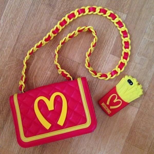 bag mcdonals bag red handbag red bag red clutch mcdonalds