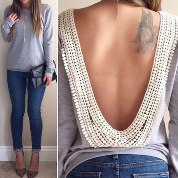 blouse shirt sweater long-sleeve scoop-back backless top lace top splice no back style jewels backless sexy top detail grey open back top