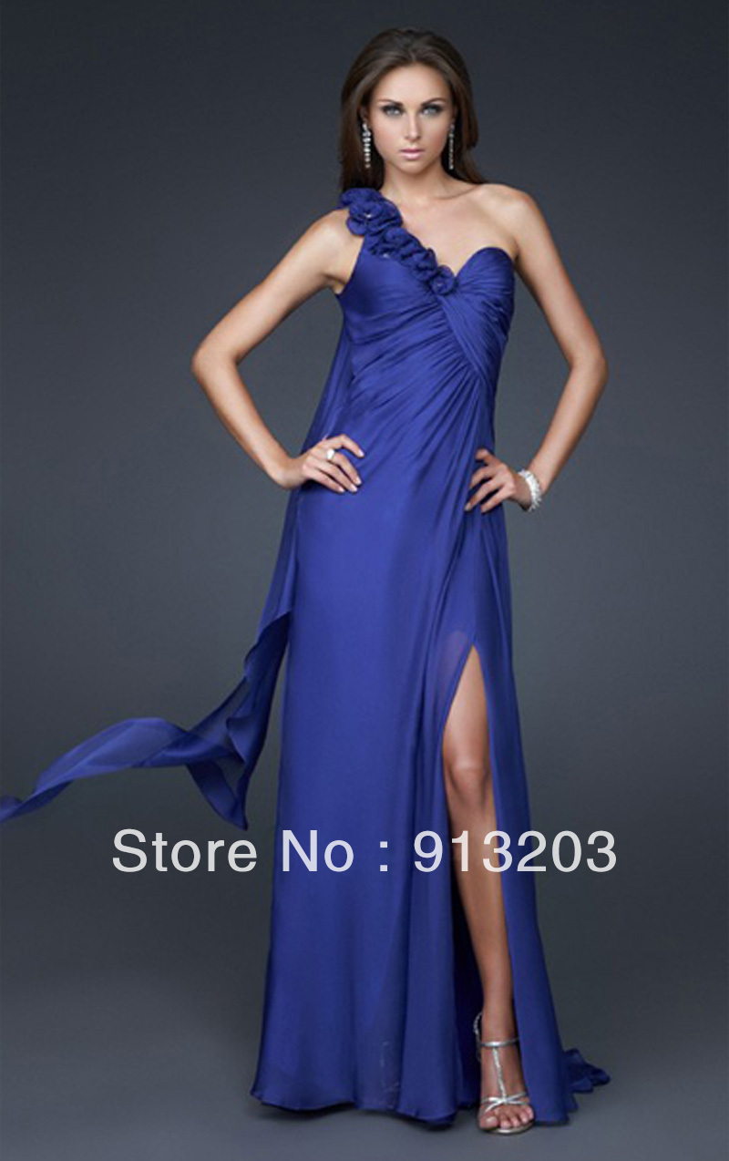 Royal Blue A line Floor length One Shoulder Prom/Evening Dress-in Prom Dresses from Apparel & Accessories on Aliexpress.com