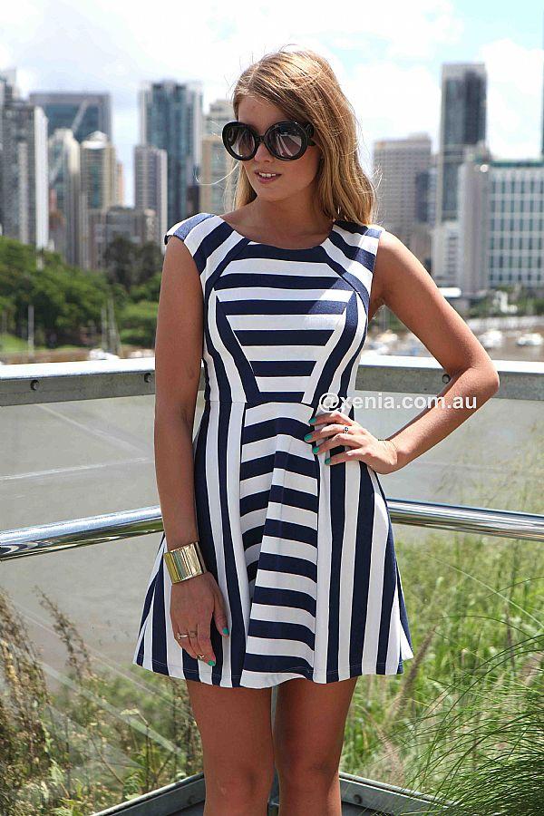 THE NAVY & WHITE STRIPES DRESS , DRESSES, TOPS, BOTTOMS, JACKETS & JUMPERS, ACCESSORIES, 50% OFF , PRE ORDER, NEW ARRIVALS, PLAYSUIT, COLOUR, GIFT VOUCHER,,Blue,White,Print,SLEEVELESS,SHORT SLEEVE,MINI Australia, Queensland, Brisbane