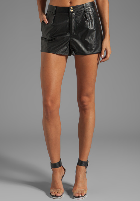 LINE & DOT Faux Leather Shorts in Black - Line & Dot