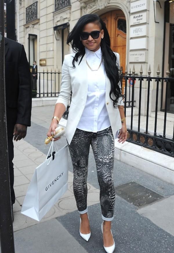 shirt black print jeans white shoes stilettos givenchy clutch smile fashion cassie fabulous necklace sunglasses shoes jewels