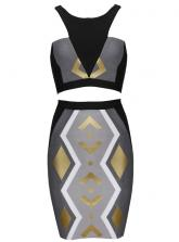 Olga Choi In Gray Gold Tribal Two Piece Bodycon Dress H576$99