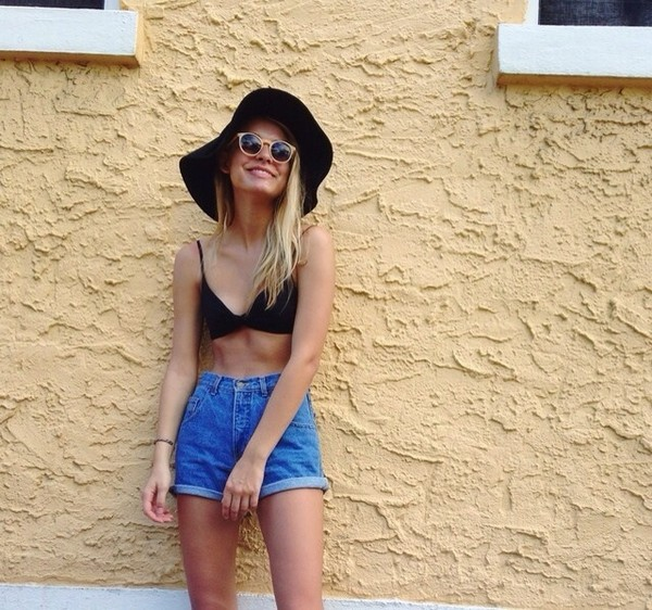 shorts High waisted shorts high waisted denim shorts bohemian hat swimwear sunglasses
