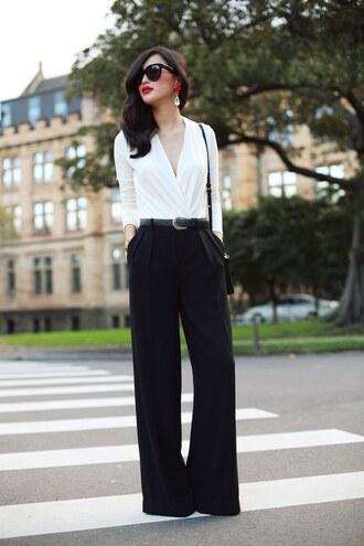 gary pepper vintage t-shirt pants jewels belt sunglasses bag shoes wide-leg pants black pants white shirt office outfits