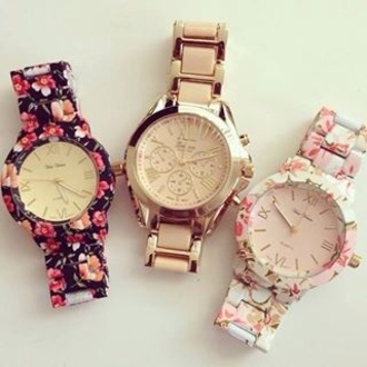 jewels floral watch watch rawbeauty. print watch flower watch fashion blogger clock geneva bracelets jewelry floral flowers gold watch nail accessories gold rose gold rose gold watch floral watches cute watch