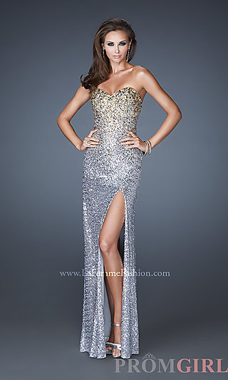 Prom Dresses, Celebrity Dresses, Sexy Evening Gowns - PromGirl: Long Strapless Sweetheart Sequin Dress