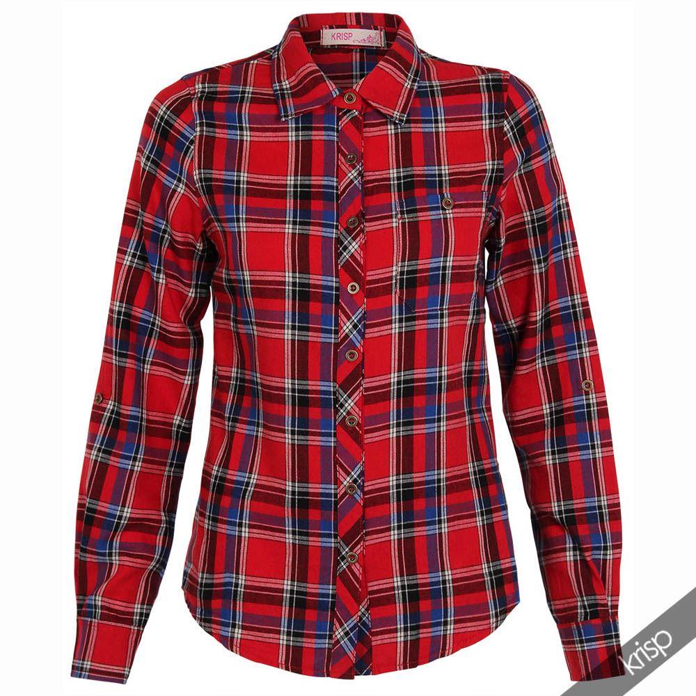 Womens Ladies Tartan Plaid Striped Check Print Button Cotton Shirt Top Fashion | eBay