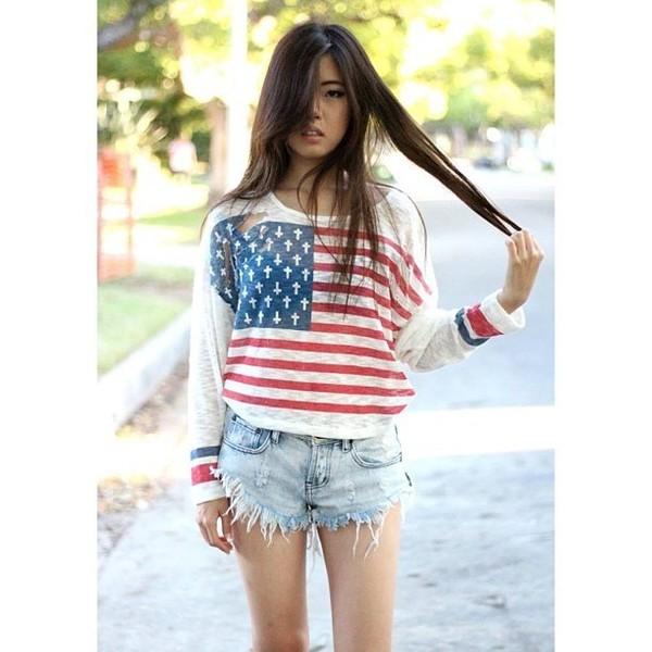 shorts short summer shorts american flag top ici fashion icifashion cut off shorts sweater