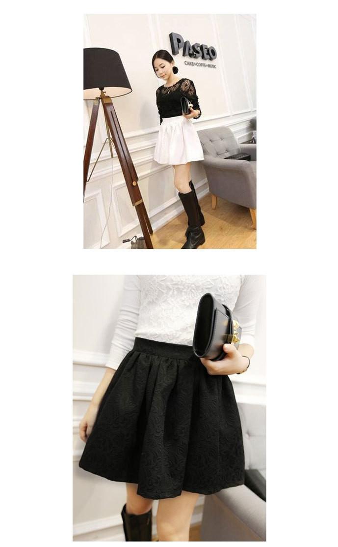 Women Mini Skirt Embossed Small Jacquard Skirt High Waist Skirt Black White | eBay