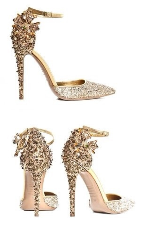 shoes gold spikes glitter shoes gold shoes high heels gold sequins gold pumps sequins heels pointed toe pumps