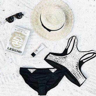swimwear peixoto swim black bikini top crochet detail white crochet limited edition swimwear sporty bikini bikini