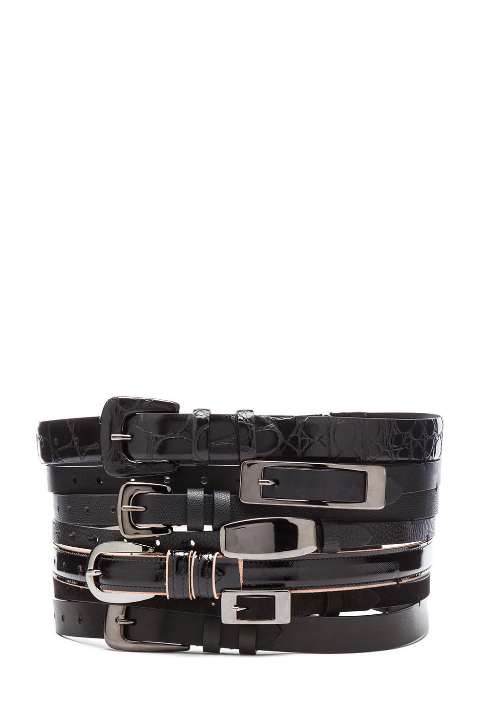 Maison Martin Margiela|Multi Leather Belt in Black