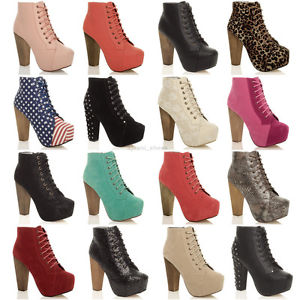 Womens Ladies Lace Up Platform Wooden Block High Heel Booties Ankle Boots Size | eBay