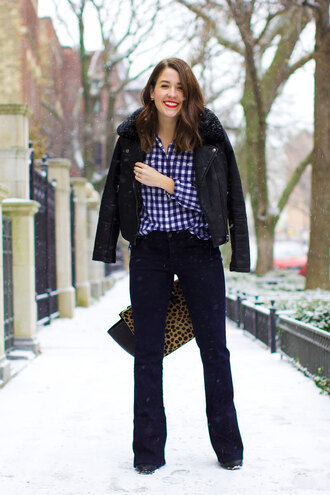 sequins and stripes blogger gingham winter jacket shirt jacket jeans shoes bag jewels make-up
