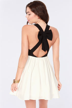 Cute Black and White Dress - Skater Dress - Black Dress - White Dress - $73.00