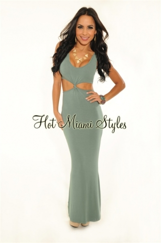 Sage Green Knotted Cut-Out Long Sleeveless Maxi Dress