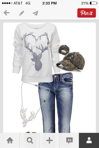 shirt deer country jewels necklace hat jeans sweater belt cowgirl boots cowgirl pull grey pullover buck blouse pants