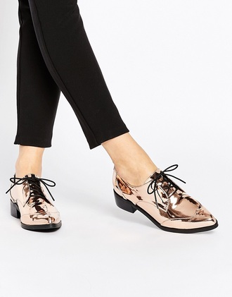 shoes rose gold oxfords