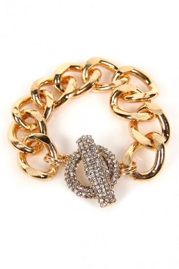 LoveMelrose.com From Harry & Molly | Rhinestone Thick Chain Bracelet - Gold