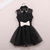 L 080201 bb Pearl Rhinestone small lapel gauze dress / charm