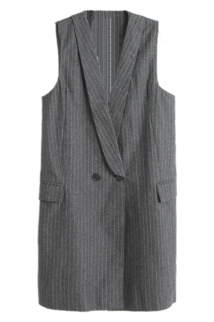 ROMWE | White Strips Grey Long Woolen Vest, The Latest Street Fashion