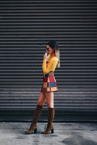 we wore what blogger skirt top shoes saffron top high waisted skirt patch work skirt suede boots knee length suede boots black aviators orange top turtleneck turtleneck top ombre hair 70s style brown yellow red blue short orange square print a line skirt mini skirt multicolor