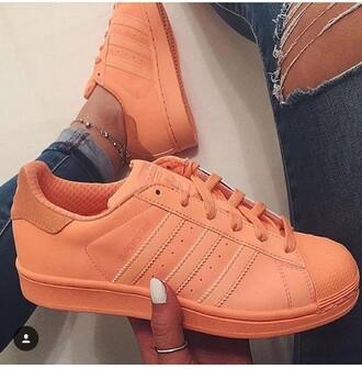 shoes adidas adidas superstars coral adidas shoes sneakers pharrell williams orange