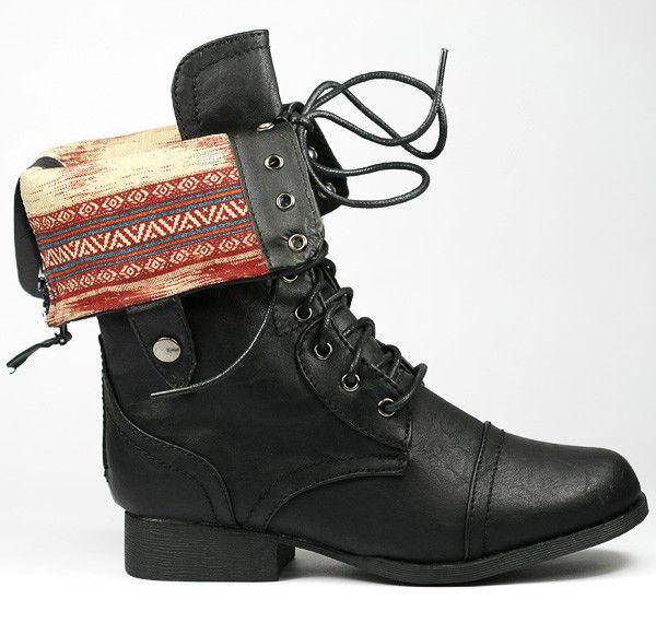 Black Fold Down Plaid Mid Calf Lace Up Military Combat Boots Wild Diva Jetta 25F | eBay