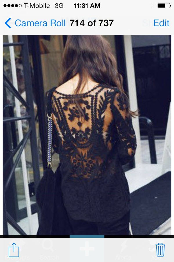 shirt black. lace.