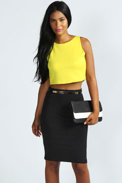 Mina Stretch Cotton Midi Skirt at boohoo.com